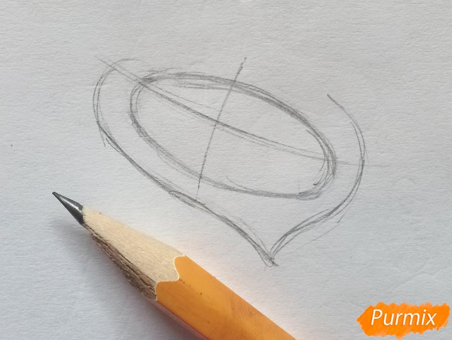 Рисуем летучую мышь с тыквой на Хэллоуин цветными карандашами - шаг 1
