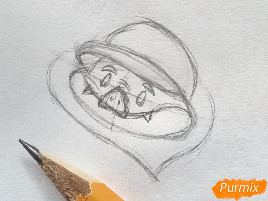 Рисуем летучую мышь с тыквой на Хэллоуин цветными карандашами - шаг 2