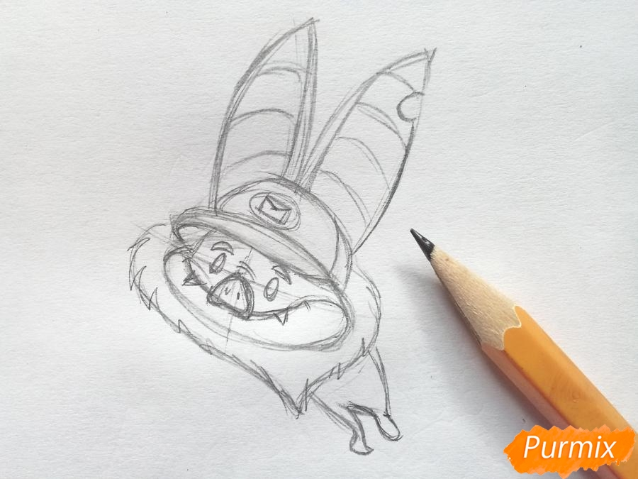 Рисуем летучую мышь с тыквой на Хэллоуин цветными карандашами - шаг 3