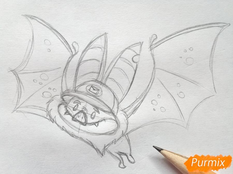 Рисуем летучую мышь с тыквой на Хэллоуин цветными карандашами - шаг 4