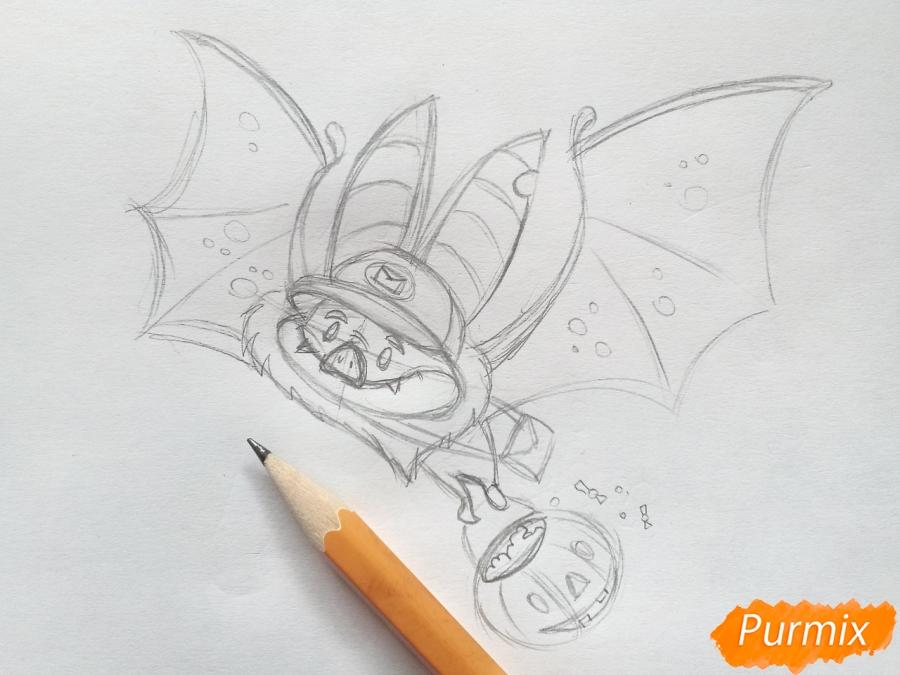 Рисуем летучую мышь с тыквой на Хэллоуин цветными карандашами - шаг 5