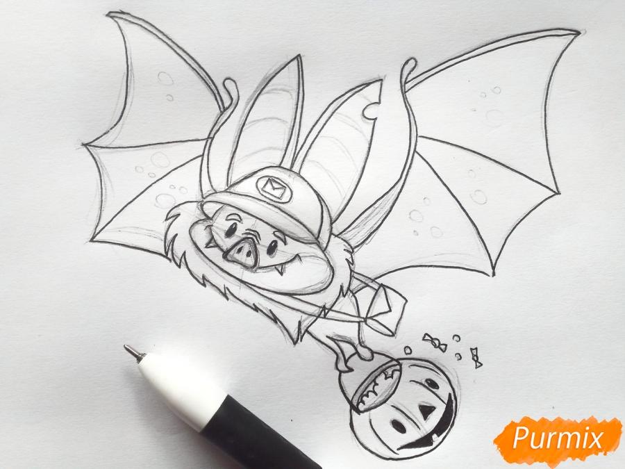 Рисуем летучую мышь с тыквой на Хэллоуин цветными карандашами - шаг 6