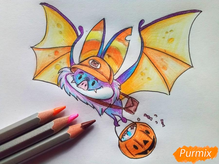 Рисуем летучую мышь с тыквой на Хэллоуин цветными карандашами - шаг 9