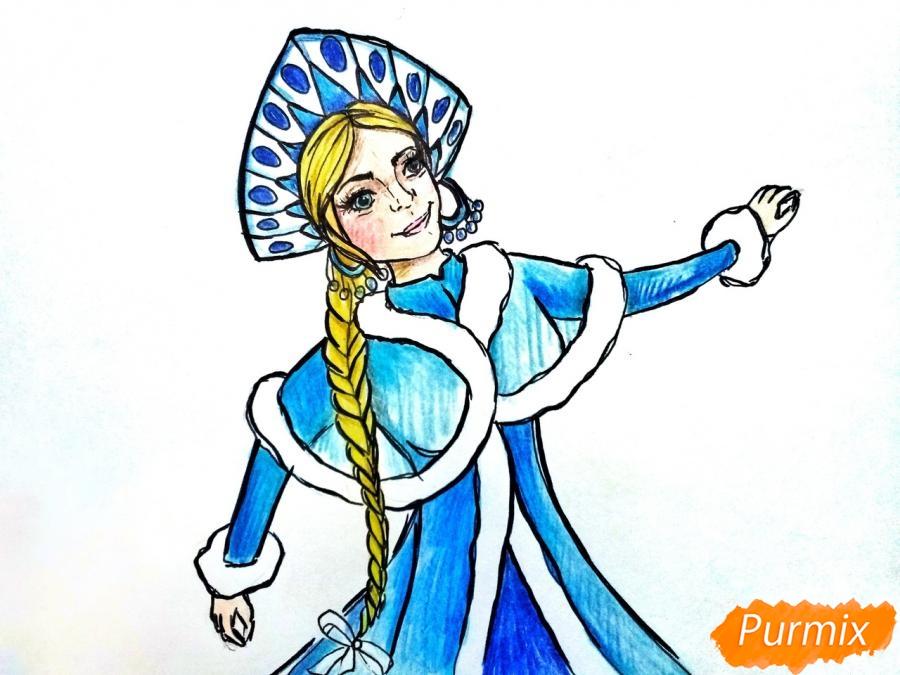 Рисуем лицо Снегурочки - шаг 11