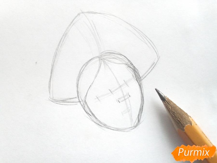 Рисуем лицо Снегурочки - шаг 2