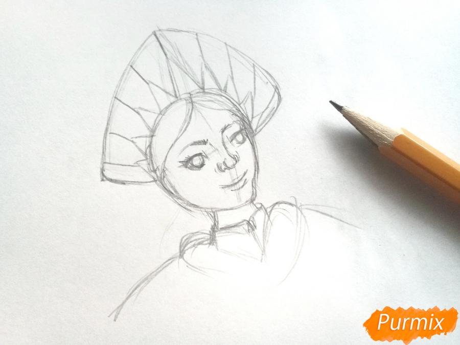 Рисуем лицо Снегурочки - шаг 4