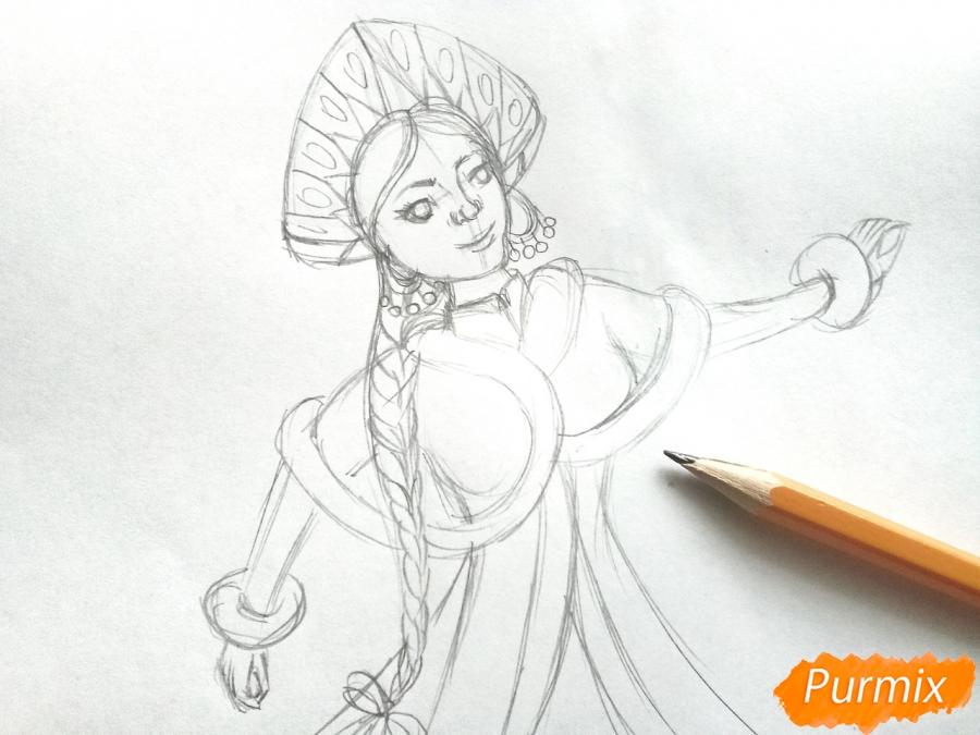 Рисуем лицо Снегурочки - шаг 6