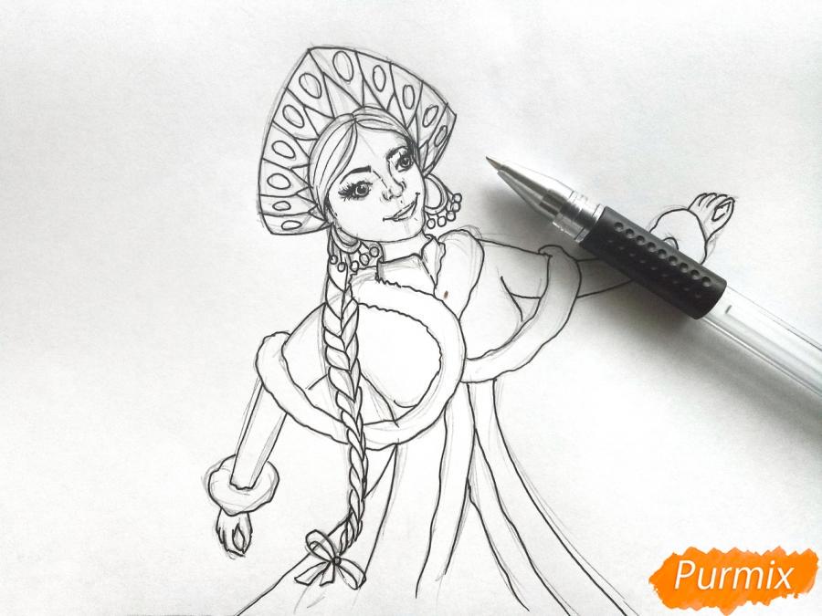 Рисуем лицо Снегурочки - шаг 7