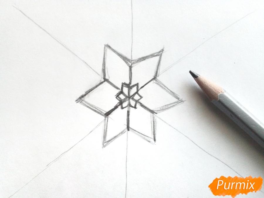 Рисуем маленькую снежинку - шаг 2
