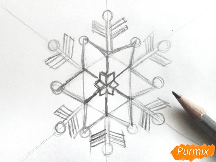 Рисуем маленькую снежинку - шаг 3
