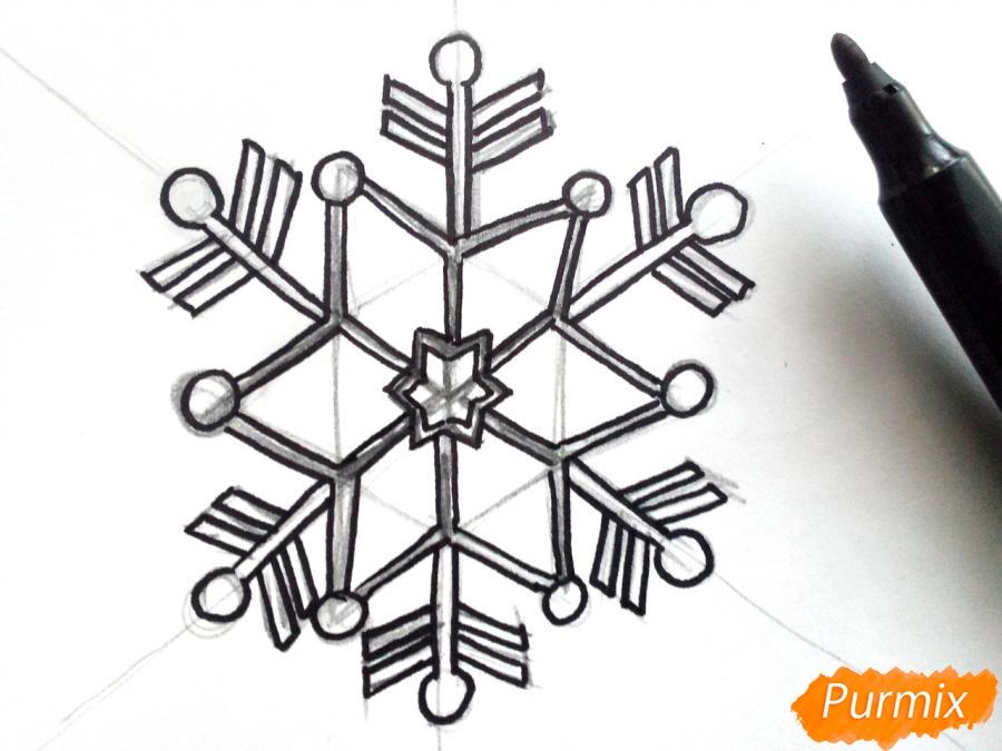 Рисуем маленькую снежинку - шаг 4