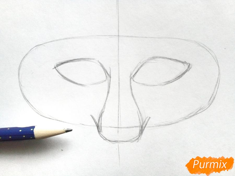 Рисуем маску лисицы на новый год - шаг 2