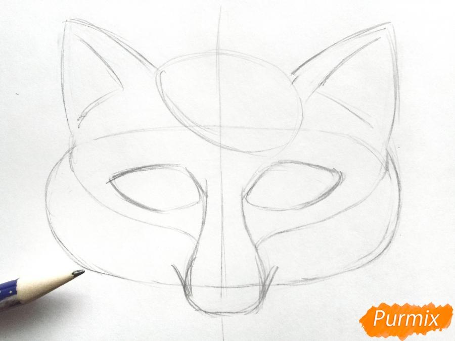 Рисуем маску лисицы на новый год - шаг 3