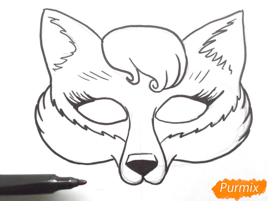 Рисуем маску лисицы на новый год - шаг 5