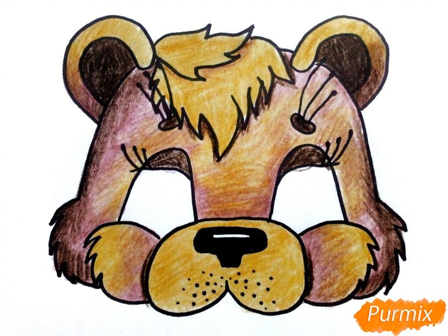 Рисуем маску медведя на новый год - шаг 8