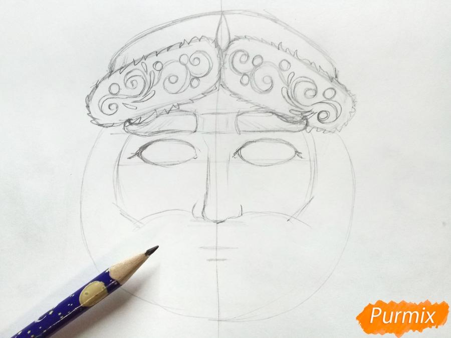 Учимся рисовать новогодние маски - шаг 4