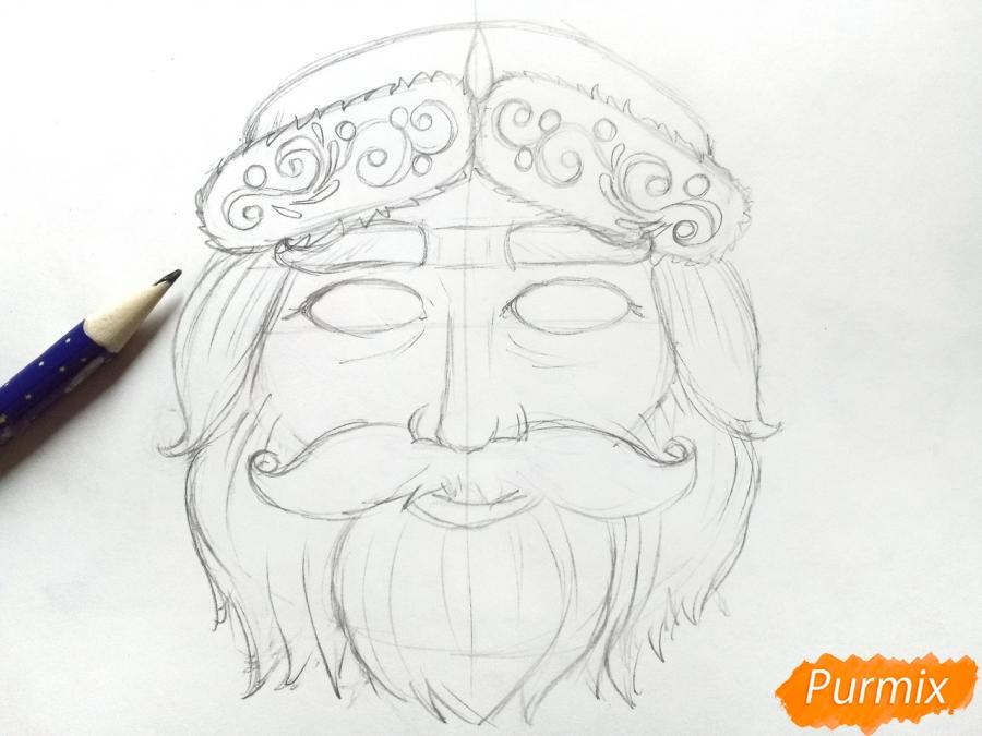 Учимся рисовать новогодние маски - шаг 5
