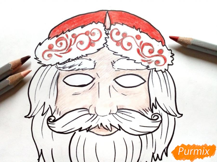 Учимся рисовать новогодние маски - шаг 7