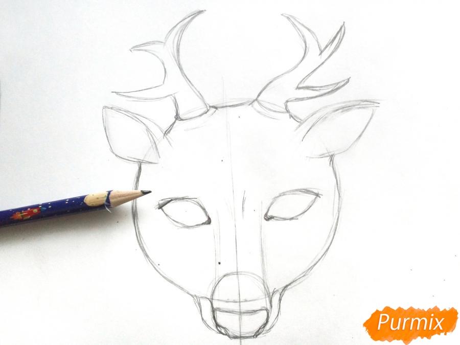 Рисуем маску оленя на новый год - шаг 4