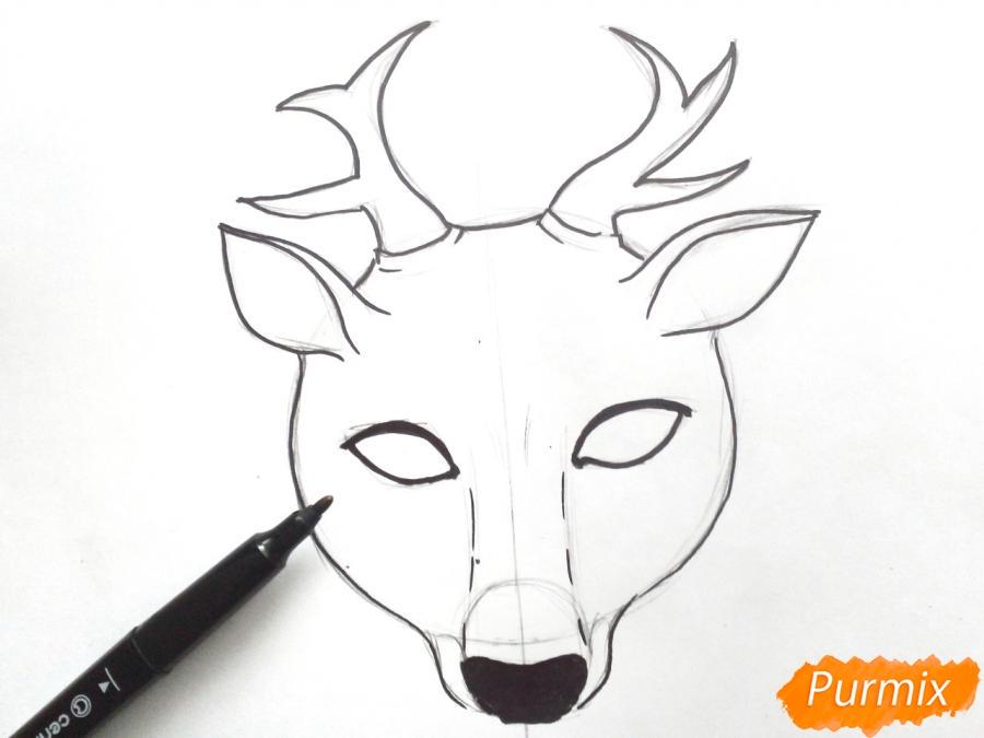 Рисуем маску оленя на новый год - шаг 5
