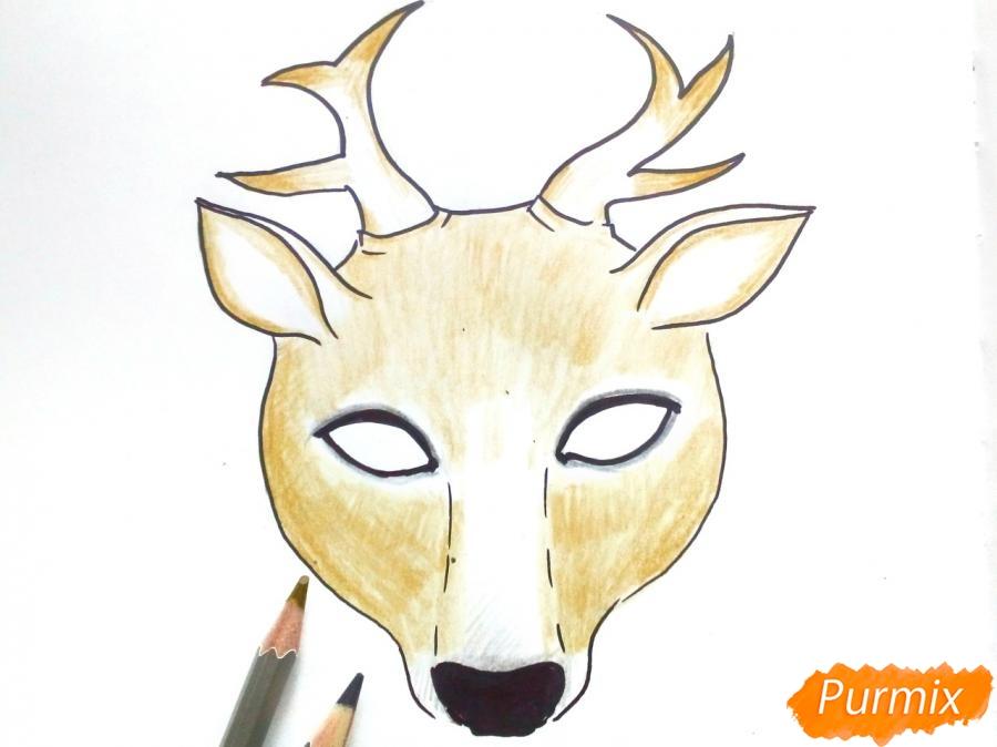 Рисуем маску оленя на новый год - шаг 6