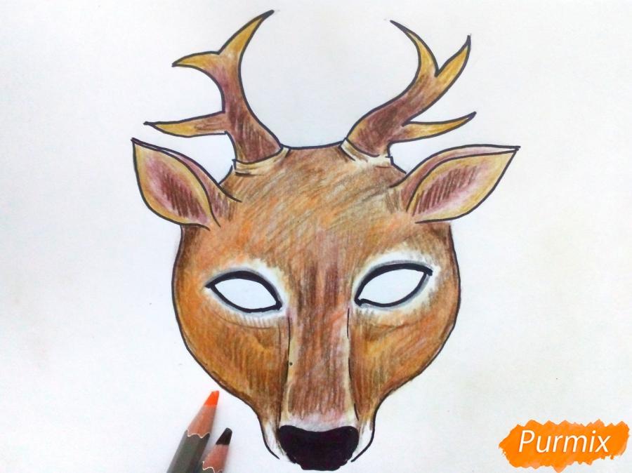 Рисуем маску оленя на новый год - шаг 8