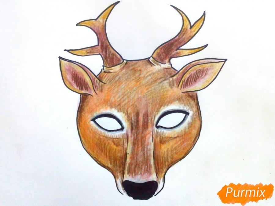 Рисуем маску оленя на новый год - шаг 9