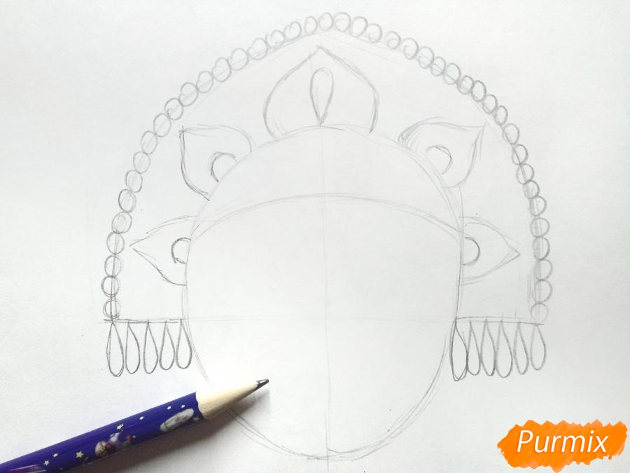 Рисуем маску Снегурочки - шаг 2