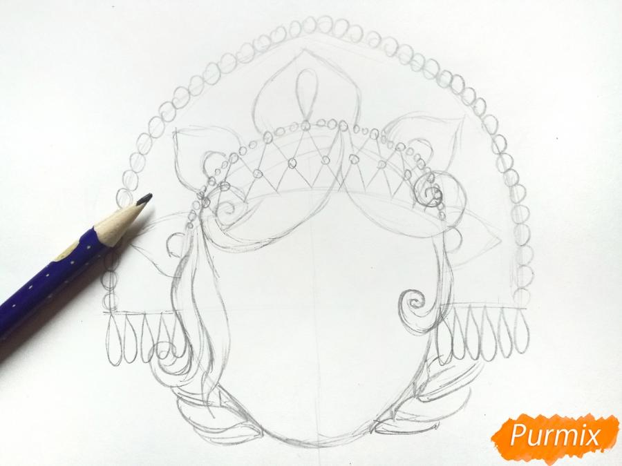 Рисуем маску Снегурочки - шаг 3