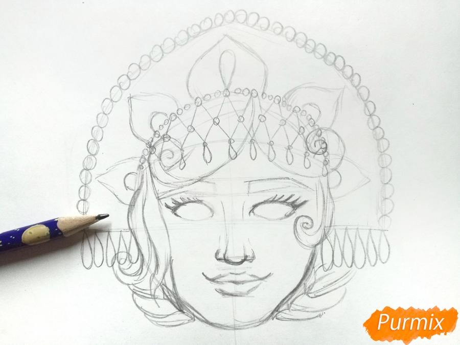 Рисуем маску Снегурочки - шаг 4