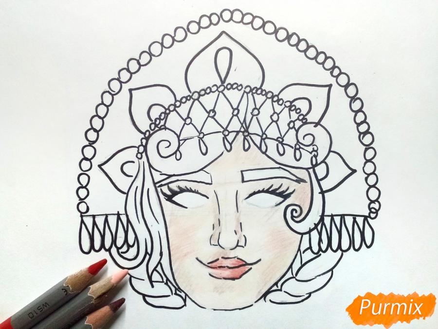 Рисуем маску Снегурочки - шаг 6