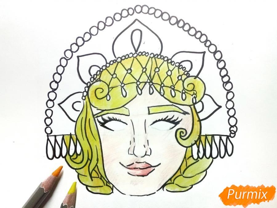 Рисуем маску Снегурочки - шаг 7