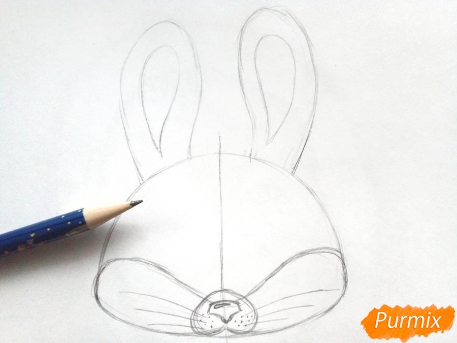 Рисуем маску зайца на новый год - шаг 3