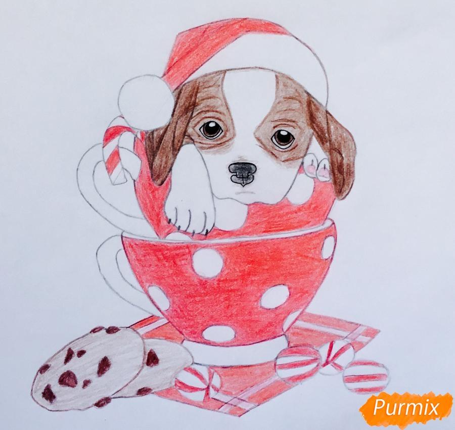 Рисуем милого новогоднего щеночка чашечках - шаг 10