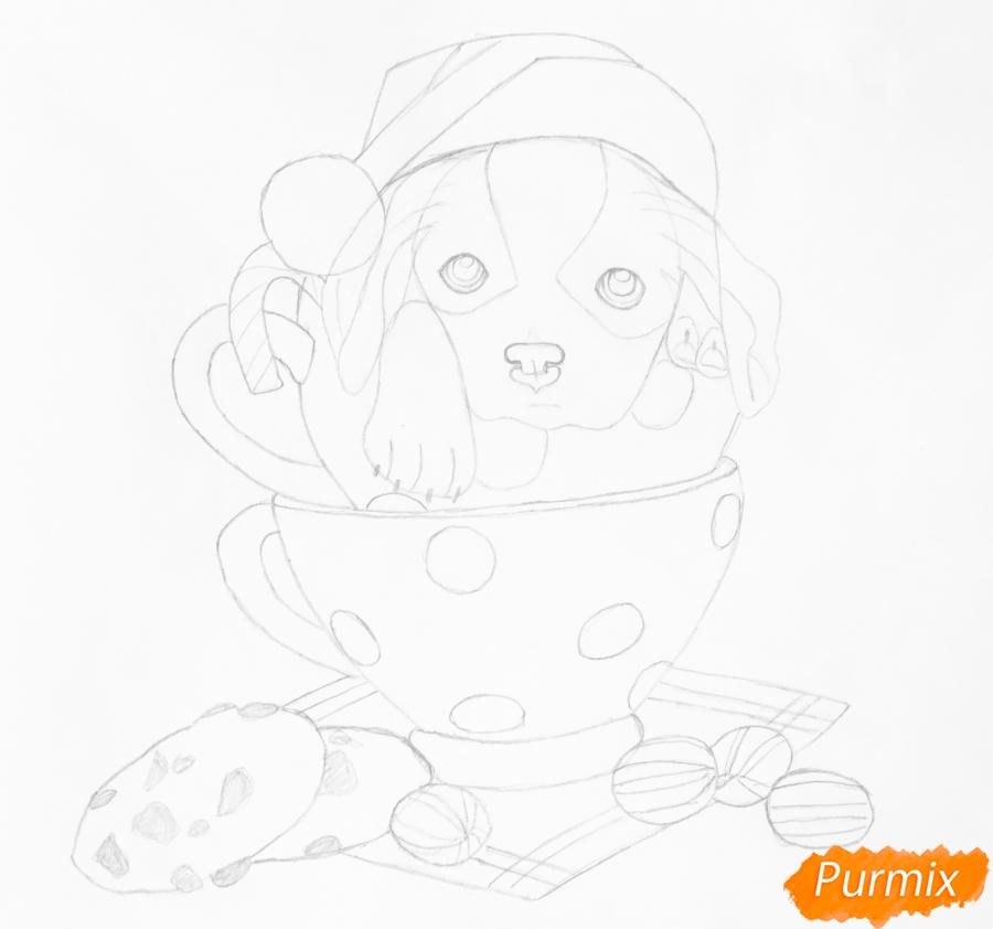 Рисуем милого новогоднего щеночка чашечках - шаг 7