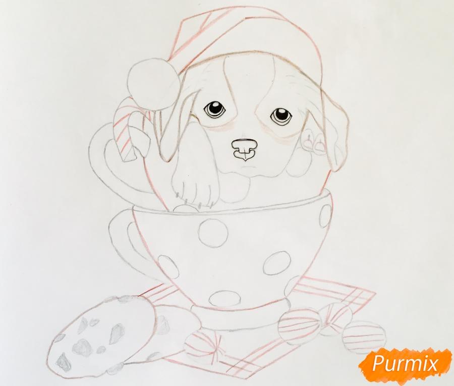 Рисуем милого новогоднего щеночка чашечках - шаг 8