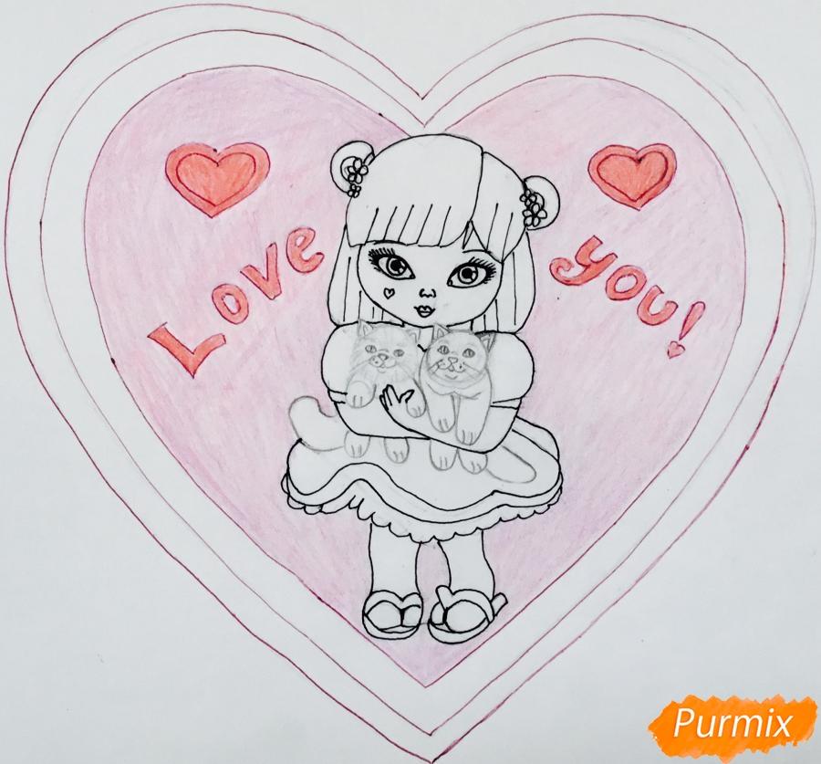 Рисуем милую девочку с двумя влюблёнными котиками - шаг 10