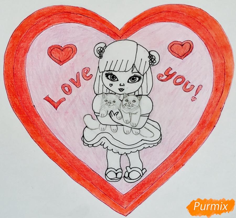 Рисуем милую девочку с двумя влюблёнными котиками - шаг 11