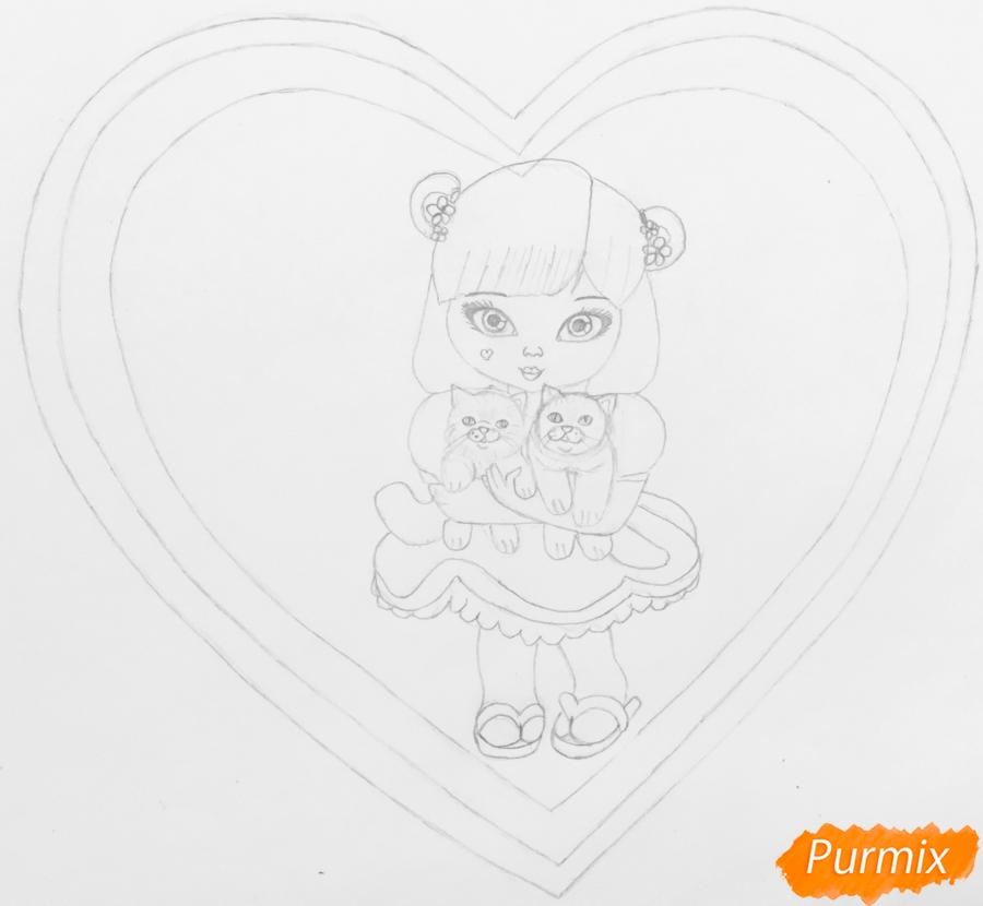 Рисуем милую девочку с двумя влюблёнными котиками - шаг 6