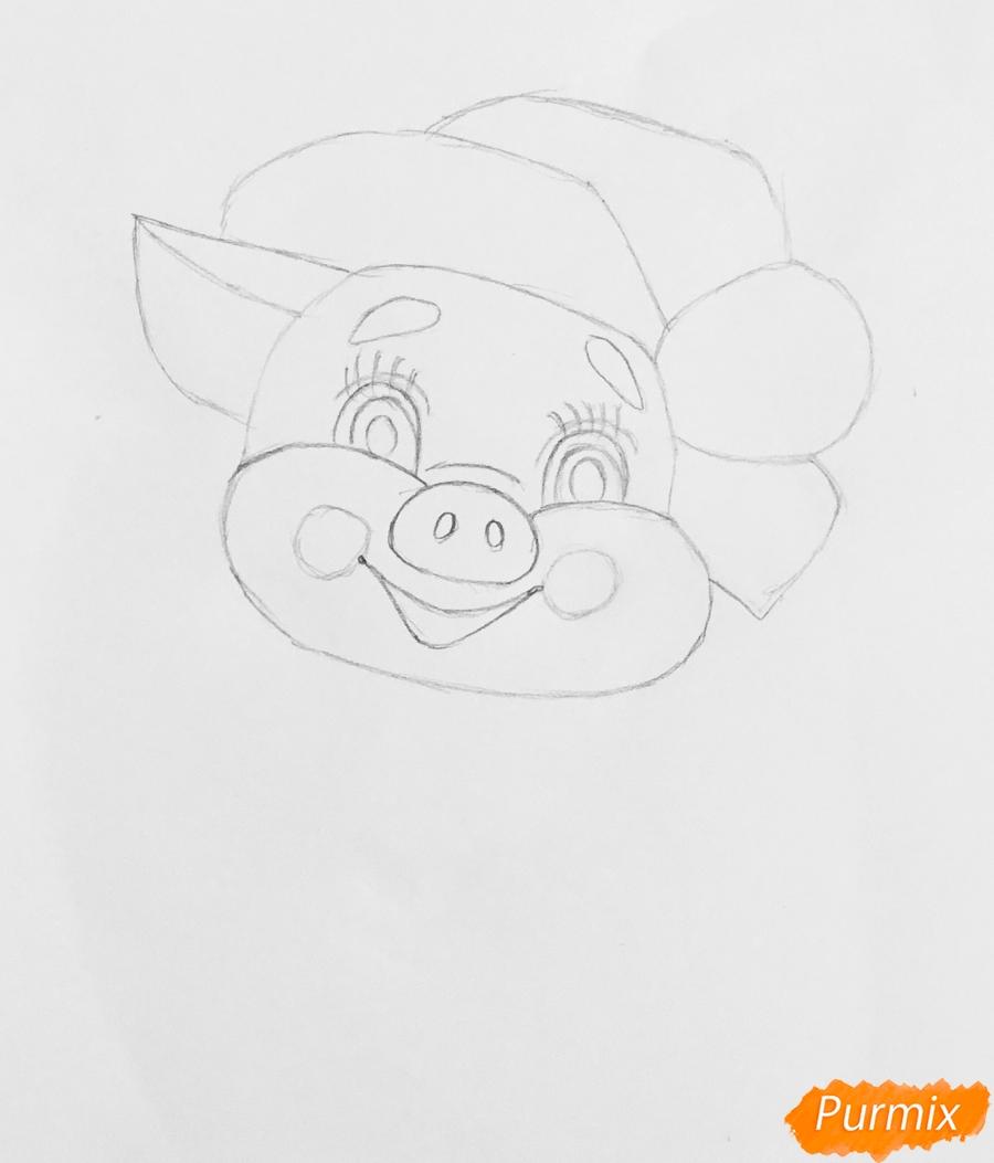 Рисуем милую новогоднюю свинку с открыт - шаг 3