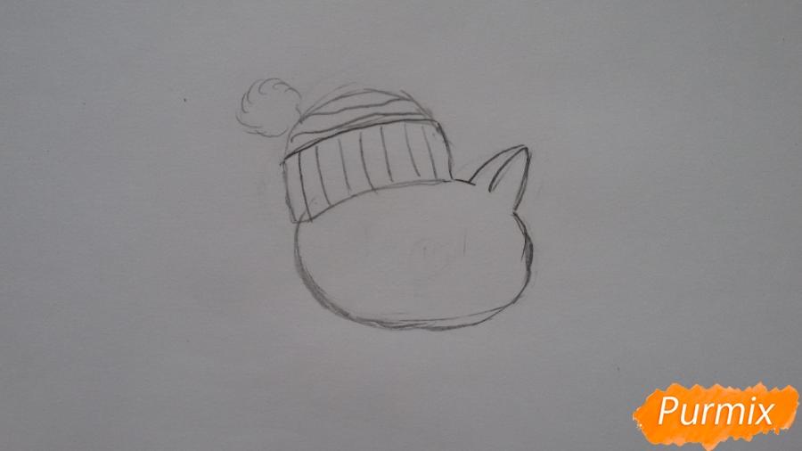Рисуем мультяшную свинью с шапочкой и шарфом - шаг 2