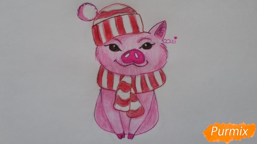 Рисуем мультяшную свинью с шапочкой и шарфом - шаг 9