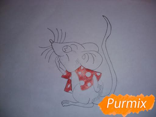 Рисуем мышь в красной кофте символ Нового Года - шаг 5
