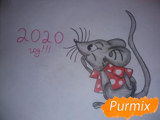 Рисуем мышь в красной кофте символ Нового Года - шаг 7