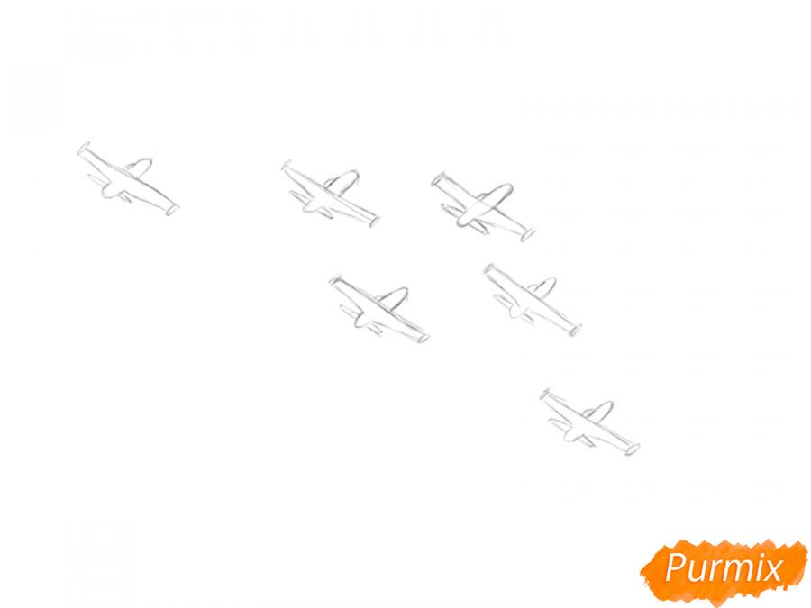 Рисуем несколько пролетающих самолетов с цветным дымом - шаг 3