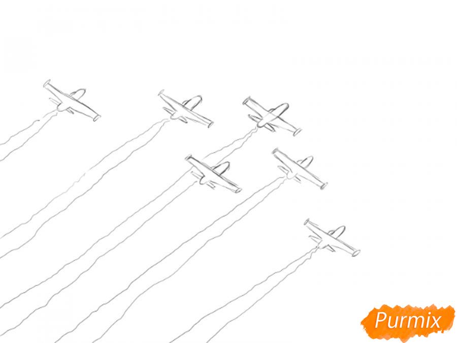 Рисуем несколько пролетающих самолетов с цветным дымом - шаг 4