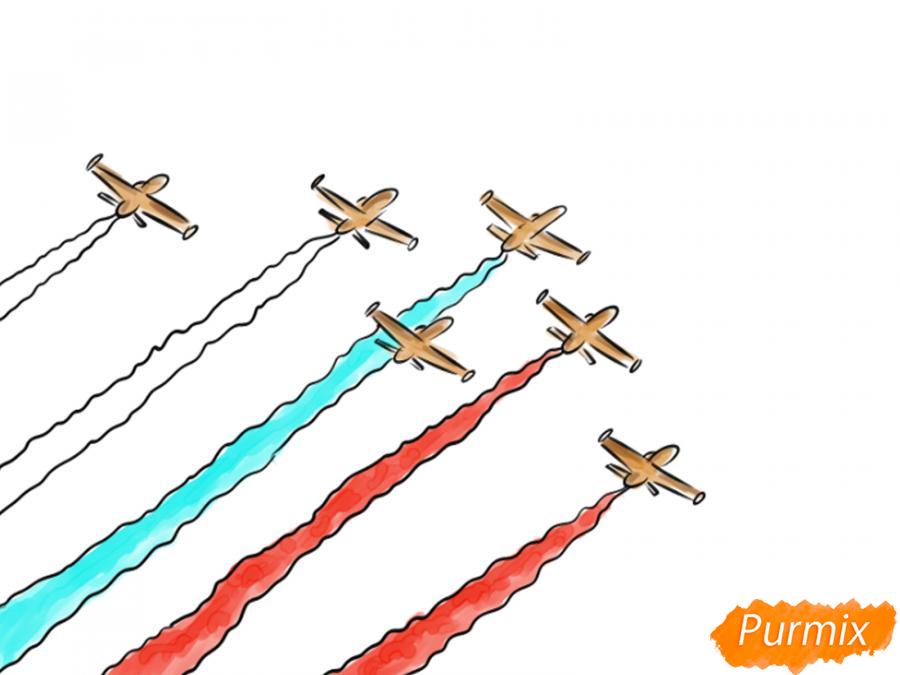 Рисуем несколько пролетающих самолетов с цветным дымом - шаг 7