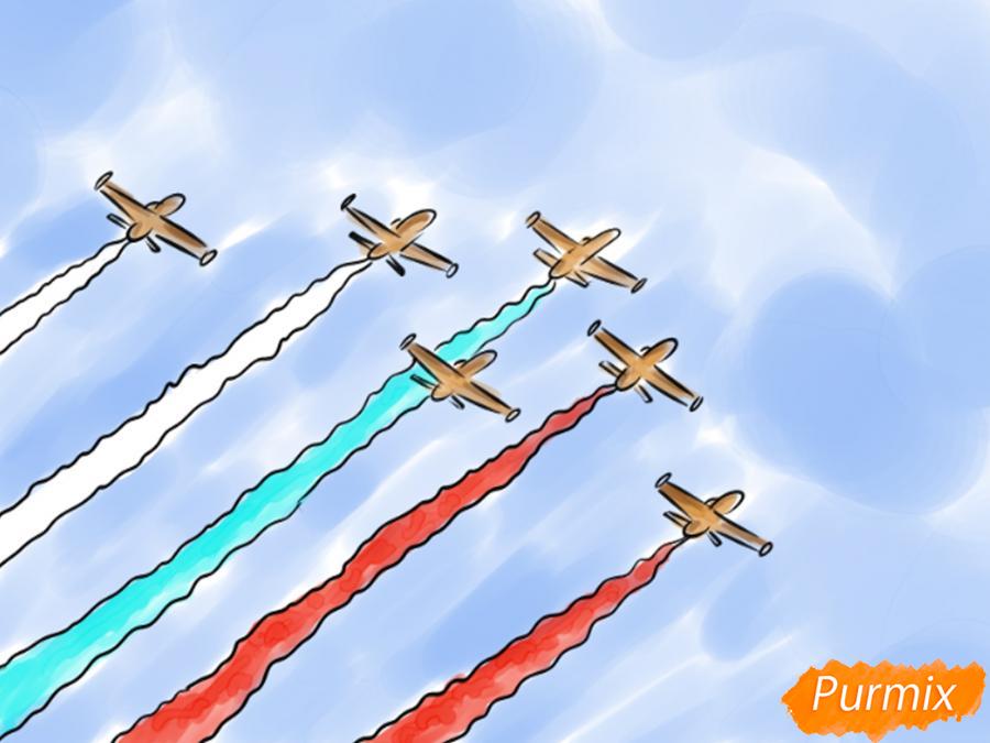 Рисуем несколько пролетающих самолетов с цветным дымом - шаг 8