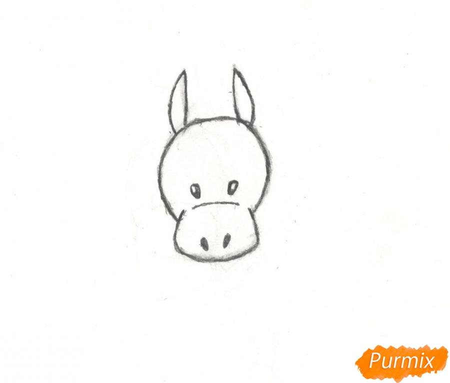 Рисуем новогоднего лося карандашами - шаг 3