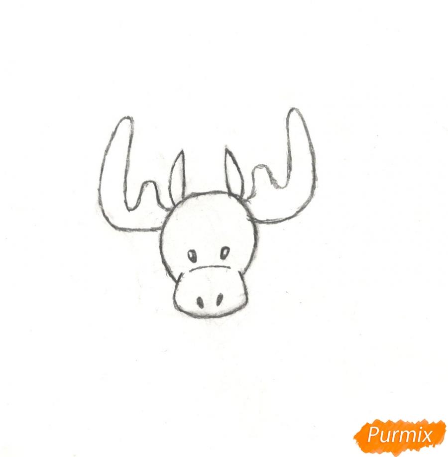 Рисуем новогоднего лося карандашами - шаг 4